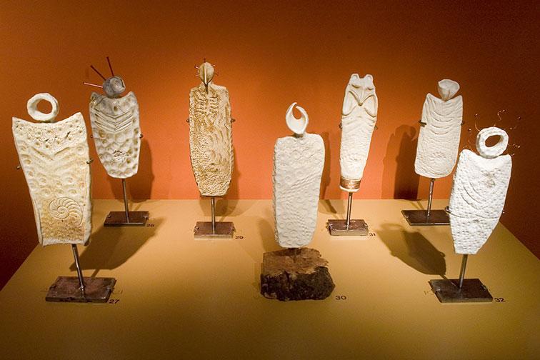 Clay Masks And Sculptures Depicting Native American Symbols